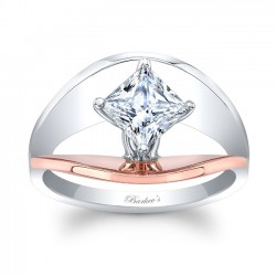 Rose & White Gold Solitaire Engagement Ring 8085LTRV
