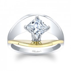 Yellow & White Gold Solitaire Engagement Ring 8085LTYRV