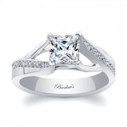 White Gold Princess Cut Engagement Ring 8091L