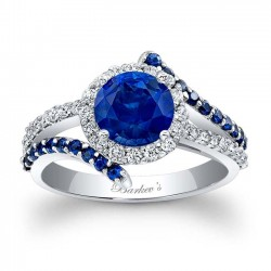 Blue Sapphire Halo Engagement Ring BSC-7857LBS