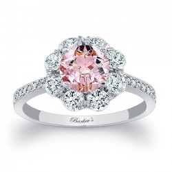 Elegant Morganite White Gold Engagement Ring MOC-7661L
