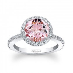 Morganite Halo Engagement Ring MOC-7839L