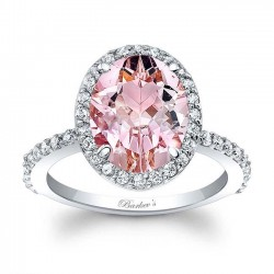 Oval Morganite Halo Engagement Ring  MOC-7905L front