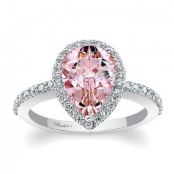 Pear Shape Morganite White Gold Engagement Ring MOC-7994L