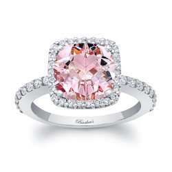 Cushion Cut Morganite White Gold Engagement Ring MOC-8025L