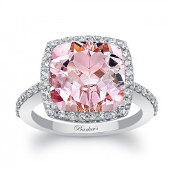 White Gold Halo Engagement Ring With Cushion Cut Morganite Center MOC-8045L