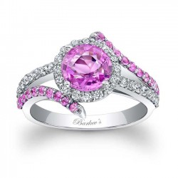 Pink Sapphire Halo Engagement Ring PSC-7857LPS