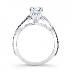 Black Diamond Engagement Ring - 7714LBK Profile