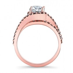 Rose Gold Engagement Ring With Champagne Diamonds - 7848LPC Profile