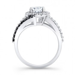 Black Diamond Halo Engagement Ring - 7857LBK Profile