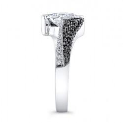 Black and White Diamond Engagement Ring - 7872LBK Side