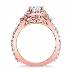 Rose Gold Halo Engagement Ring Profile