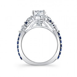 Engagement Ring With Blue Sapphires 7932LBS Profile