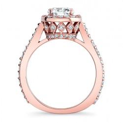 Rose Gold Halo Engagement Ring Profile