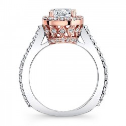 Two Tone Halo Engagement Ring 7933LT - Profile