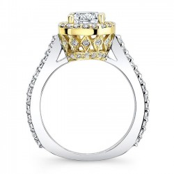 Two Tone Halo Engagement Ring 7933LTY Profile