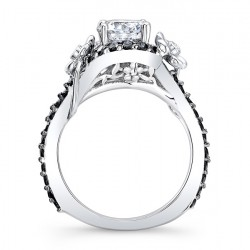 Flower Engagement Ring With Black Diamonds 7936LBK Profile