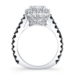 Black Diamond Princess Cut Ring 7939LBK Profile