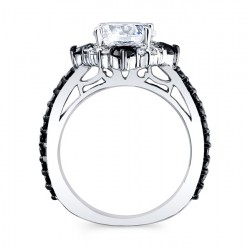 Black Diamond Halo Engagement Ring 7967LBK Profile