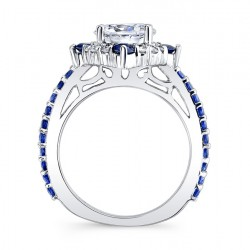 Blue Sapphire Halo Engagement Ring 7967LBS Profile
