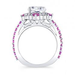 Pink Sapphire Halo Bridal Set 7967SPS Profile