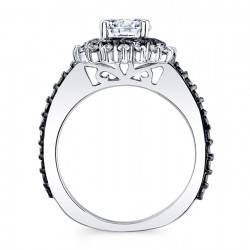 Black Diamond Halo Engagement Ring 7969LBK Profile
