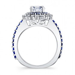 Blue Sapphire Engagement Ring 7969LBS Profile