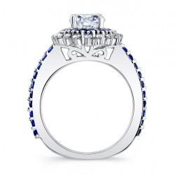 Blue Sapphire Halo Bridal Set 7969SBS Profile