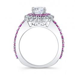 Pink Sapphire Halo Bridal Set 7969SPS Profile