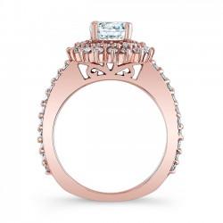 Rose Gold Halo Engagement Ring 7969LP Profile