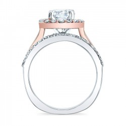 Two Tone Halo Engagement Ring 7974LT Profile