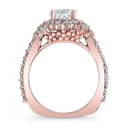 Rose Gold Halo Engagement Ring 7979LP Profile