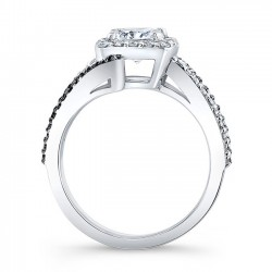Cushion Cut Engagement Ring 8005LBK Profile