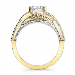 White & Yellow Gold Princess Cut Engagement Ring 8018LTY Profile