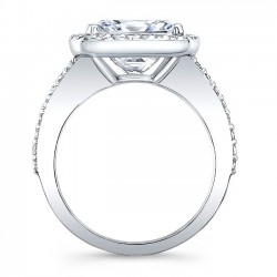 White Gold Halo Engagement Ring With Cushion Cut Diamond 8045L Profile