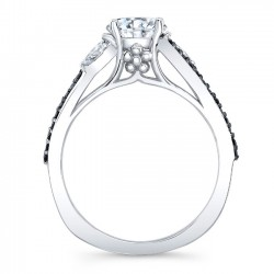 Marquise & Black Diamond Engagement Ring 8060LBK Profile