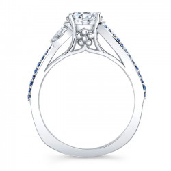 Marquise & Blue Sapphire Engagement Ring 8060LBS Profile