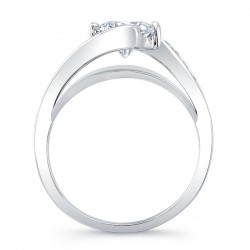 White Gold Engagement Ring With Channel Set Melee Diamonds 8069L Profile