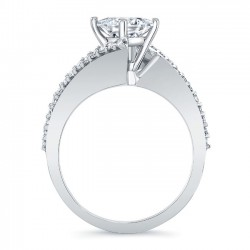 White Gold Bypass Princess Cut Engagement Ring 8074L Profile