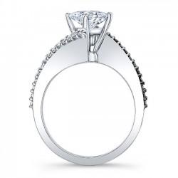Bypass Princess Cut Black Diamond Engagement Ring 8074LBK Profile