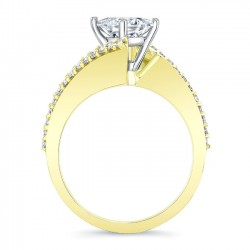 Yellow Gold Bypass Princess Cut Engagement Ring 8074LY Profile