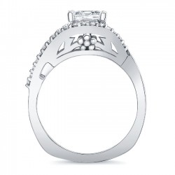 Barkev's White Gold Princess Cut Engagement Ring 8078L Profile