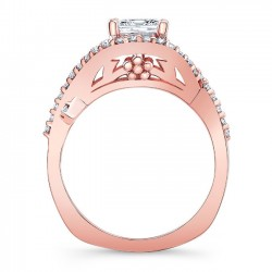 Rose Gold Princess Cut Engagement Ring 8081LP Profile