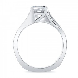 White Gold Princess Cut Engagement Ring 8091L Profile