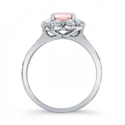 Elegant Morganite White Gold Engagement Ring MOC-7661L Profile