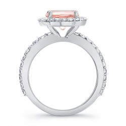 Morganite Halo Engagement Ring MOC-7839L Profile