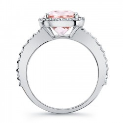 Cushion Cut Morganite White Gold Engagement Ring MOC-8025L Profile