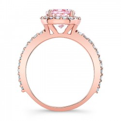 2.00ct. Oval Morganite Rose Gold Engagement Ring MOC-8027LP Profile