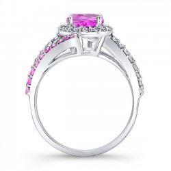 Pink Sapphire Halo Engagement Ring PSC-7857LPS Profile