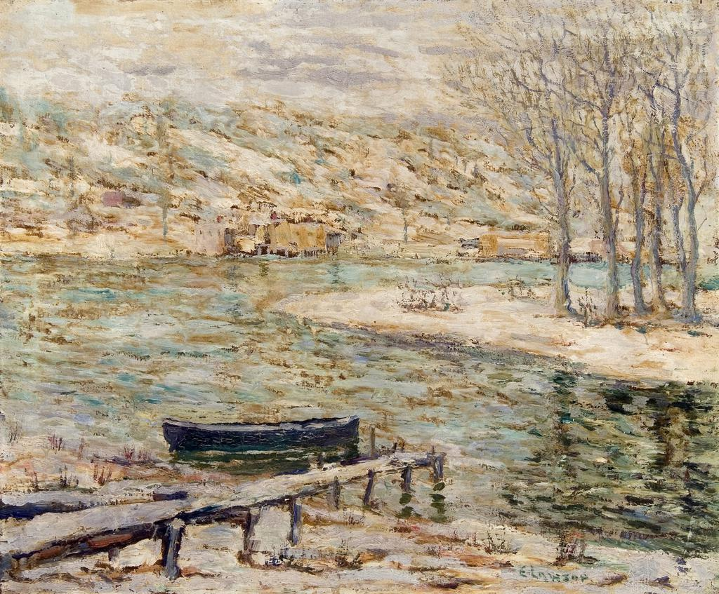 River Scene–Boat and Trees